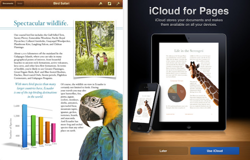 Pages fuers iPad Ansicht