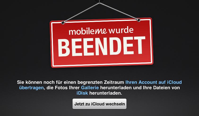 MobileMe beendet