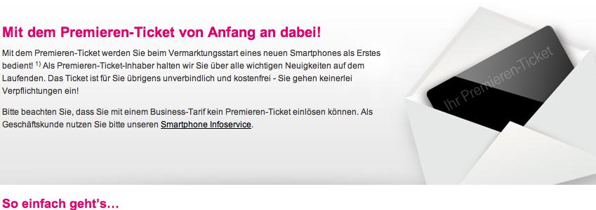 Premieren Ticket Werbung Telekom