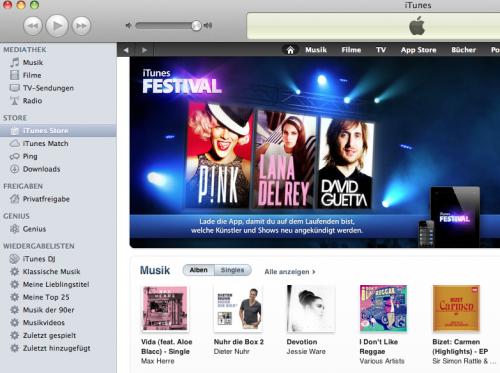 iTunes Store Ansicht