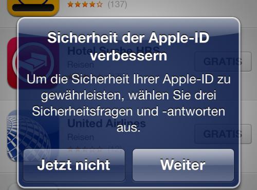Apple ID Sicherheit 1