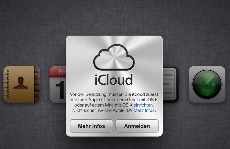 iCloud.com Ansicht Anmeldescreen