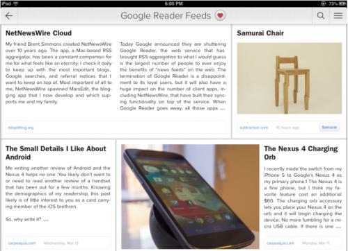 Ansicht Zite Google Reader Projekt