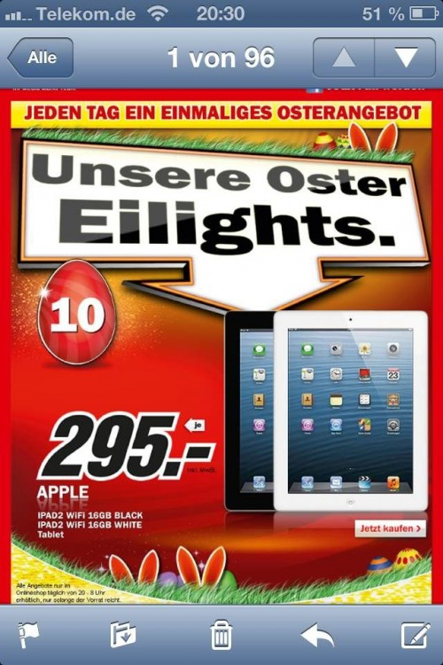 media markt mit angebot ipad unter 300 euro itopnews. Black Bedroom Furniture Sets. Home Design Ideas