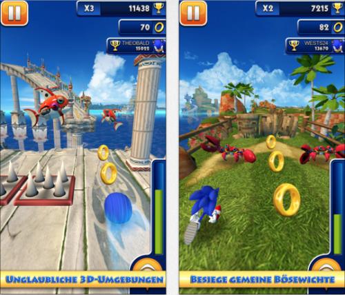 Sonic Dash Ansicht