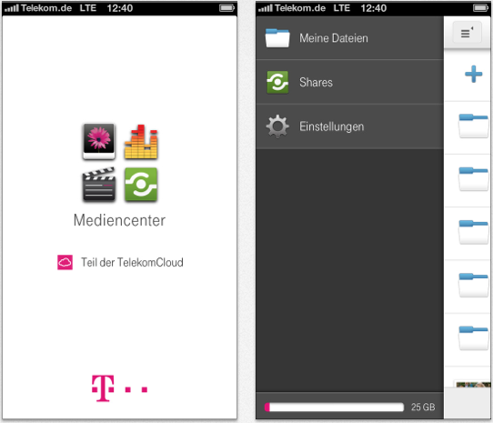 mediencenter telekom app mit 25 gb gratis speicher itopnews. Black Bedroom Furniture Sets. Home Design Ideas