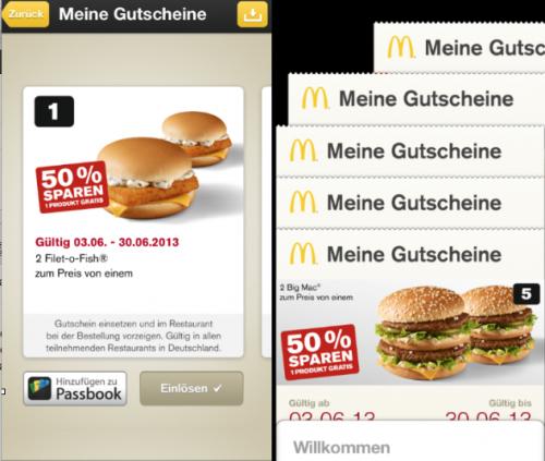 McDonalds Gutscheine in Passbook