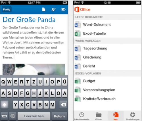 Office 365 iPhone Ansciht