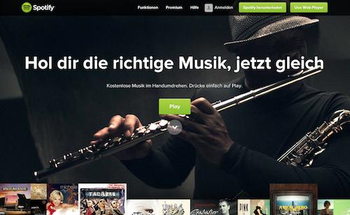 Spotify Webansicht