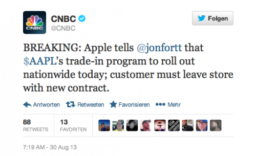 Apple Tweet CNBC