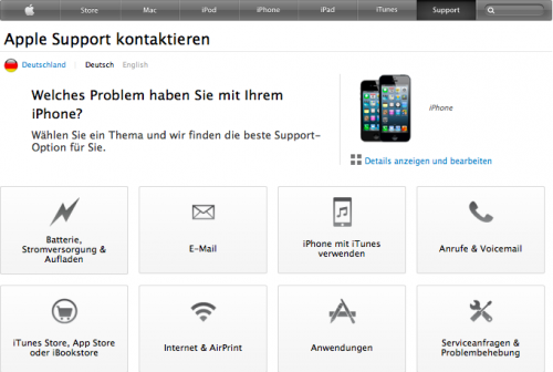 AppleCare neue Website iPhone Unterseite