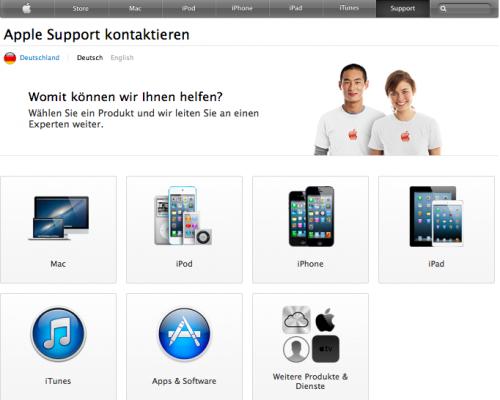 AppleCare neuer Webauftritt
