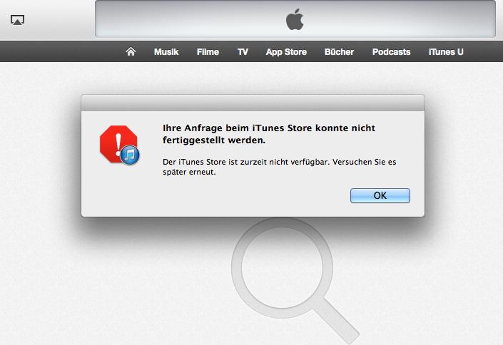 Fehlermeldung iTunes Store