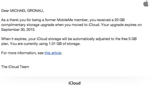 MobileMe Extraspeicher Mail