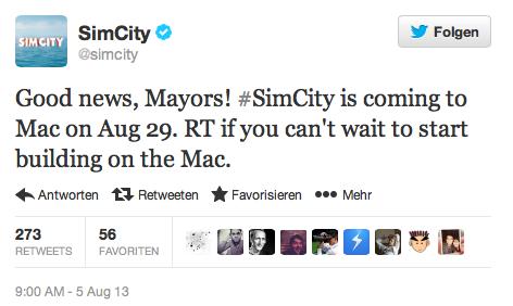 SimCity Tweet