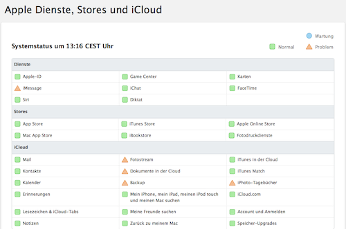Statusseite Apple 22 08 2013