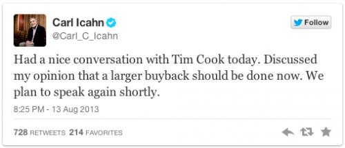 Tweet Apple Carl Icahn