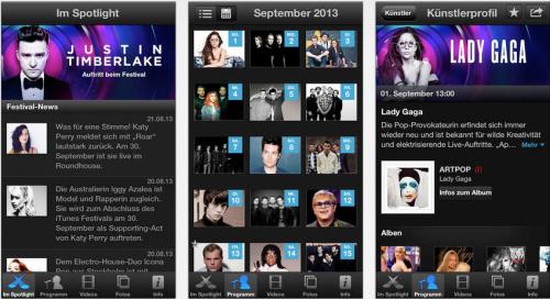 iTunes Festival App Ansicht