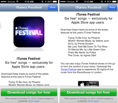iTunes Festival Gratissongs