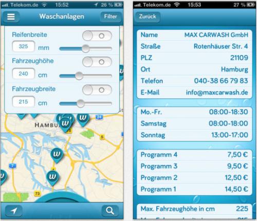 wash-app Ansicht