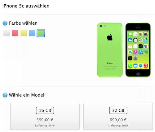 Vorbestellung iPhone 5C