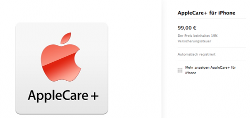 Apple Care plus Ansicht Store