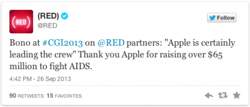 Bono Tweet Apple Product RED