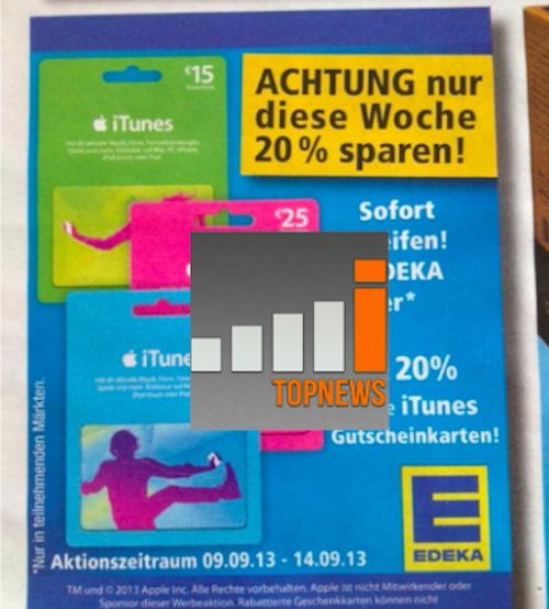 Edeka Rabatt iTunes Karten ab 9 9 2013 Bernd