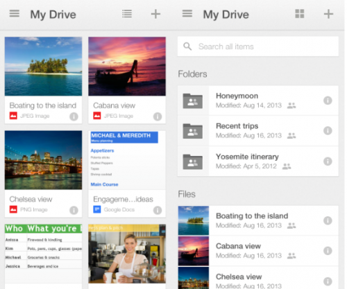 Google Drive Thumbnail Ansicht