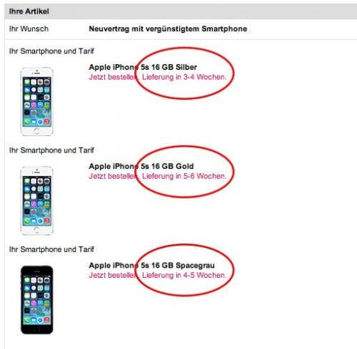 Telekom iPhone 5S Lieferzeit aktuell