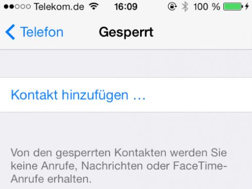 iOS 7 Anrufer gesperrt Bild 2