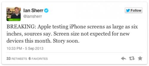 iPhone Screen Tweet wsj Ian Sherr