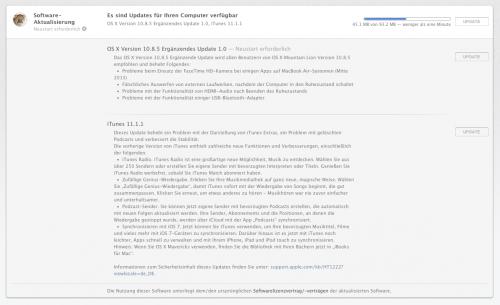 Screenshot Update Mountain Lion iTunes