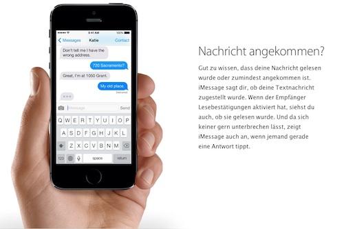 iMessage iOS 7 Nachricht angekommen
