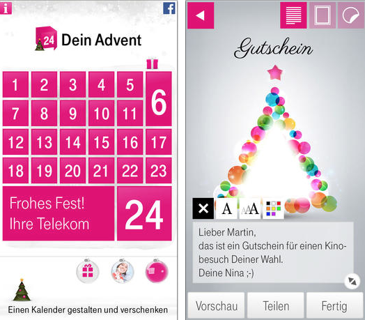 deinadvent weihnachts kalender per app basteln itopnews. Black Bedroom Furniture Sets. Home Design Ideas