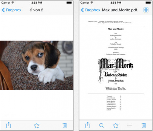 Dropbox iOS 7 Ansicht