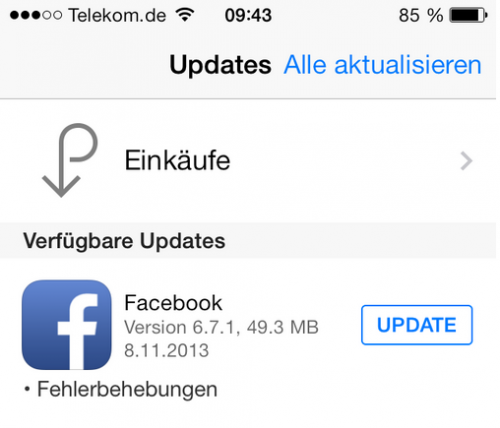 Facebook broken Update