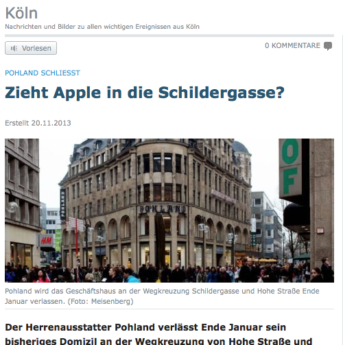 apple store wieder gemunkel um zweiten store in k ln itopnews. Black Bedroom Furniture Sets. Home Design Ideas
