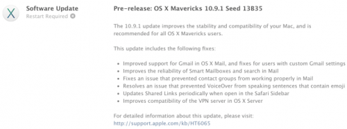 Zweite Beta 10.9.1 Mavericks