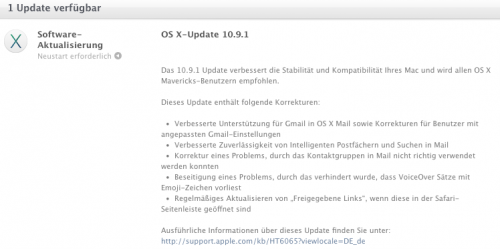 Apple Update 10.9.1 Release Notes