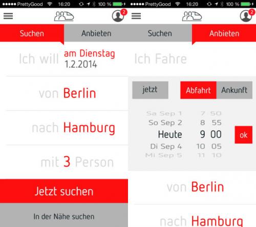 BahnSharing Screen1