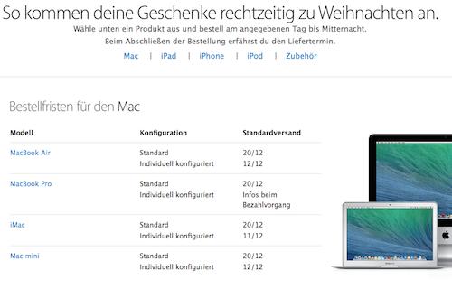 Bestellfristen Apple Online Store