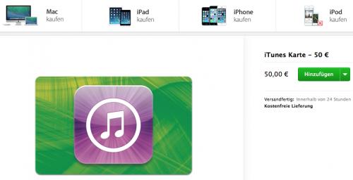 Geschenkkarten iTunes
