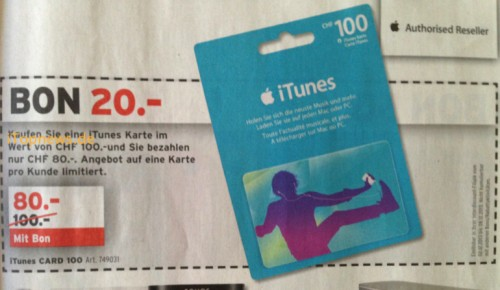Interdiscount iTunes Karte Livio