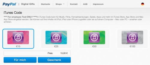 PayPal iTunes Karte