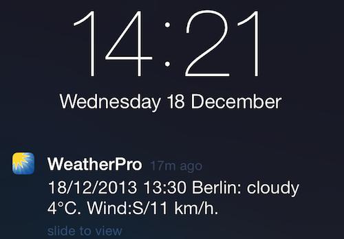 WeatherPro Lockscreen Anzeige