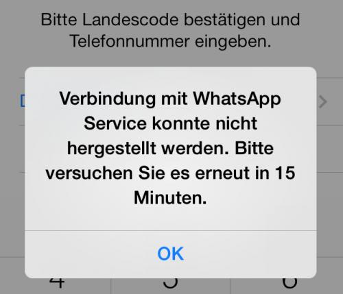 WhatsApp Fehlermeldung
