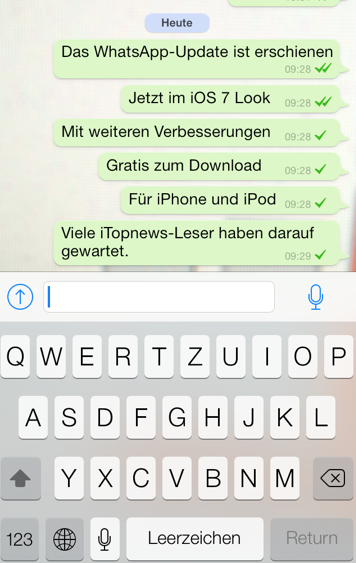 WhatsApp Update Ansicht