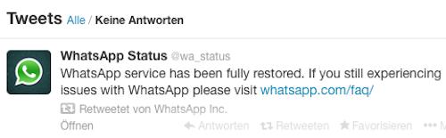 WhatsApp wieder on