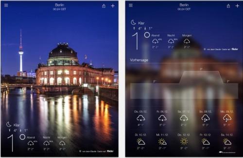 Yahoo Wetter iPad Ansicht
